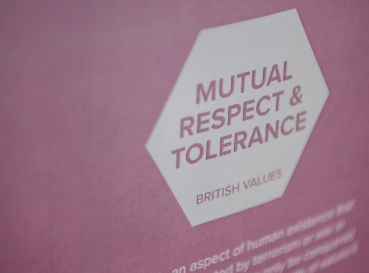 A values poster saying Mutual respect and tolerance